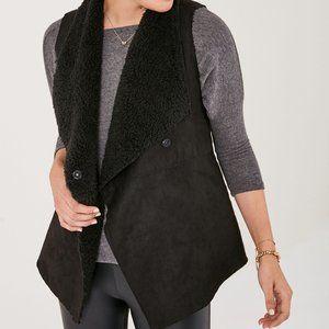 Stella & Dot Black Chalet Shearling Vest